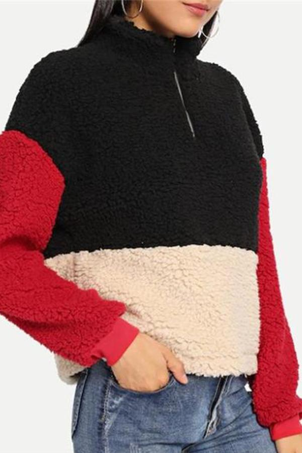 Casual Thickened   zipper stand up collar Color matching Plush sweater