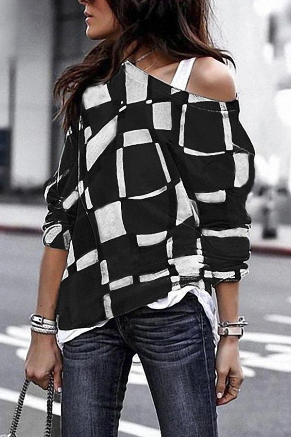 Fashion Sloping Shoulder Check Loose Long Sleeve T-Shirt Black s