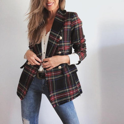 Image of Casual Plaid  Long-Sleeved Double-Sided Woolen Cardigan   And Suit Jacket Red m
