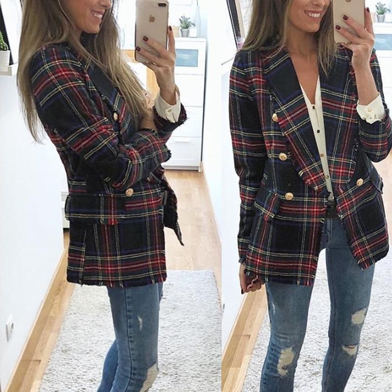 Casual Plaid  Long-Sleeved Double-Sided Woolen Cardigan   And Suit Jacket Red l