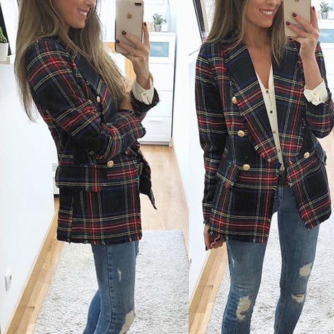 Image of Casual Plaid  Long-Sleeved Double-Sided Woolen Cardigan   And Suit Jacket Red l