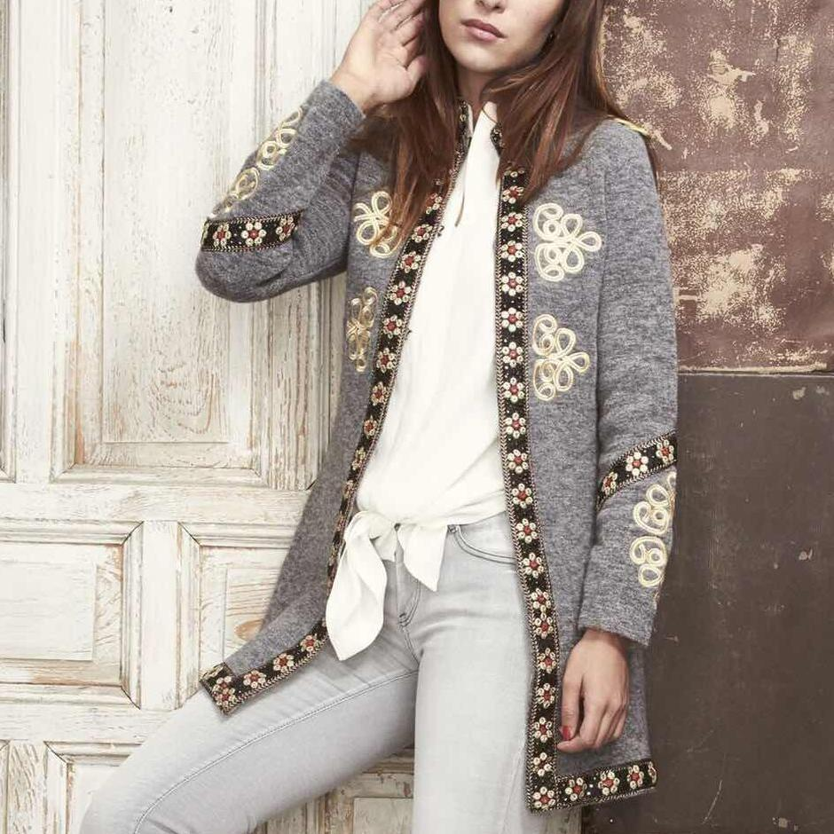 Fashion Inwrought Long   Sleeve Coat Same As Photo l