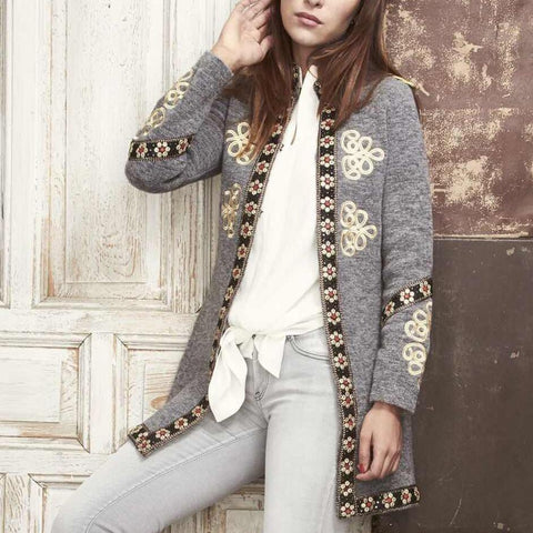 Image of Fashion Inwrought Long   Sleeve Coat Same As Photo l