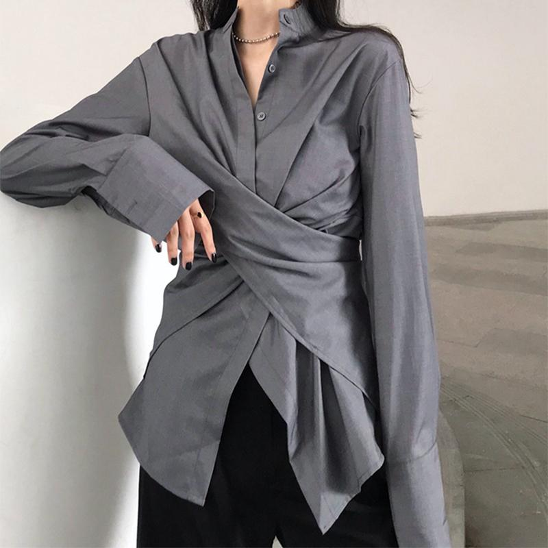 Vintage Pure Colour Stand Collar Slit Irregular Shirt White one size