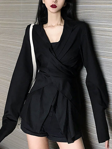 Image of Vintage Pure Colour Stand Collar Slit Irregular Shirt