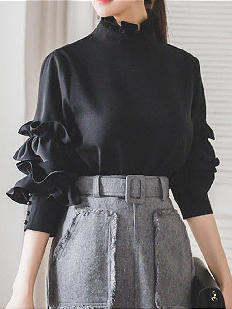 Fashion Long-Sleeved Open-Back Shirt Black s