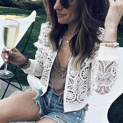 Image of Fashion Sexy Hollow   Lace Cardigan Jacket Coat White m