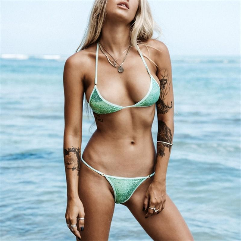 Fashion Sandbeach Sexy   Sequins Frenulum Swimsuits Bikini Green l