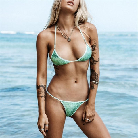 Image of Fashion Sandbeach Sexy   Sequins Frenulum Swimsuits Bikini Green l