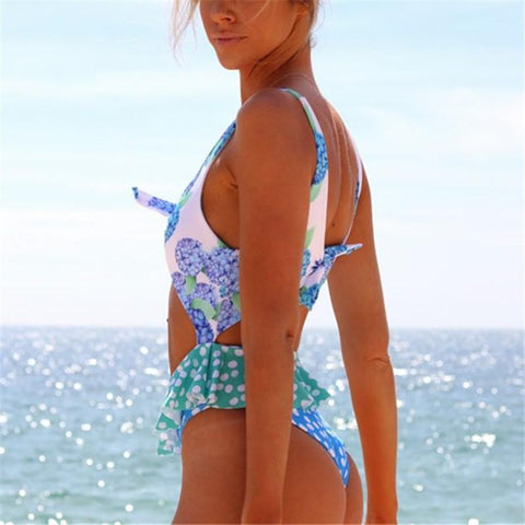 Image of Vacation Sandbeach   Sexy Floral Pattern Printing Swimsuits Bikini Same As Photo l