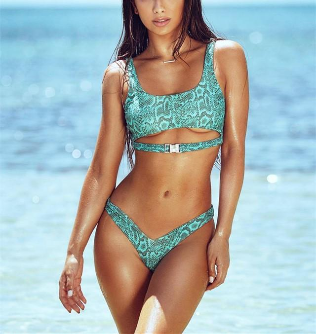 Vacation Sandbeach   Sexy Snakeprint Swimsuits Bikini Blue l