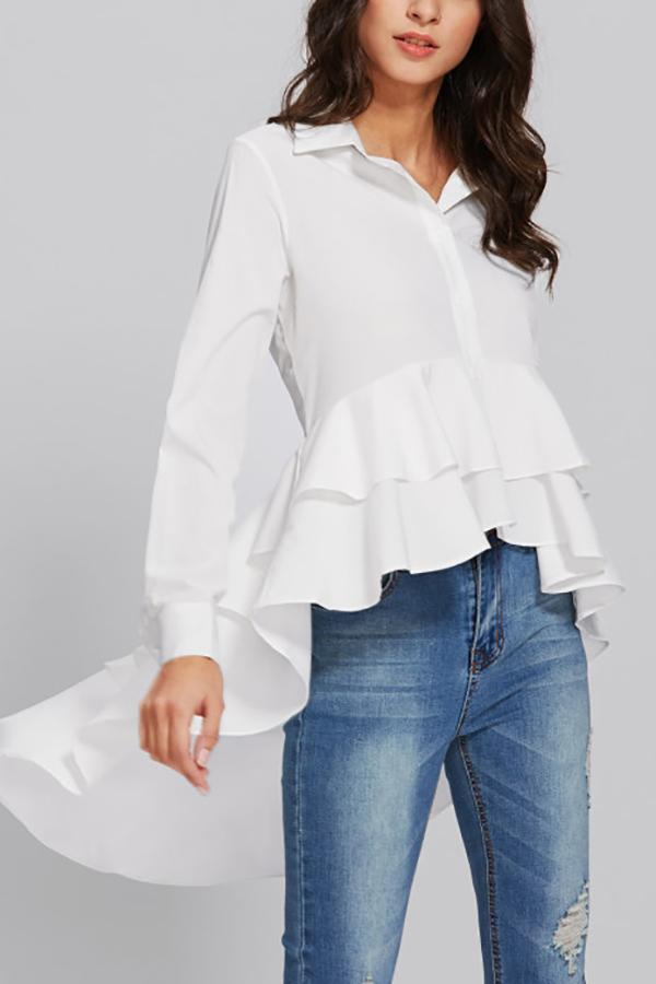 Casual Long Sleeve   Pure Color Loose Falbala Shirt White s