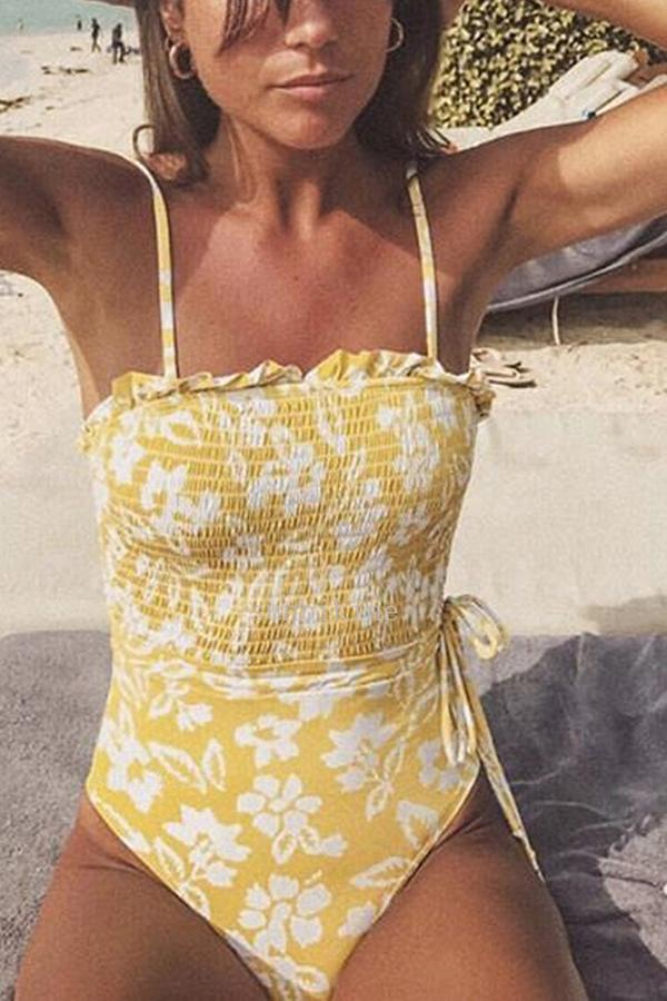 Sexy Bikini Fresh Printed Bandeau Sling One-Piece Swimsuit Yellow s