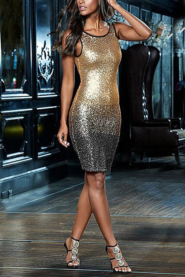 Casual Sexy Sleeveless   Backless Sequins Mini Bodycon Dresses Same As Photo s