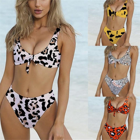 Image of Vacation Sandbeach   Sexy Leopard Print Knotted Swimsuits Bikini Silver s