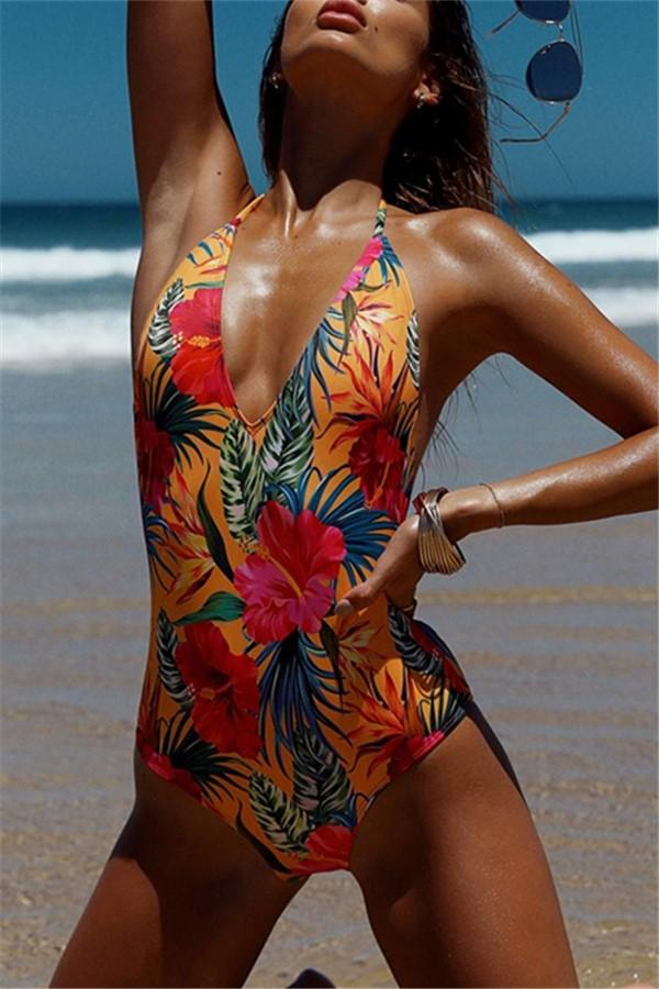 Vacation Sandbeach   Sexy Floral Pattern Printing Piece Swimsuits Bikini Red s