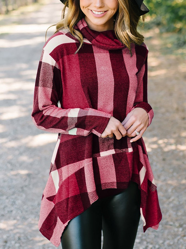 Fashion Irregular Check Long Sleeve T-Shirt Claret m