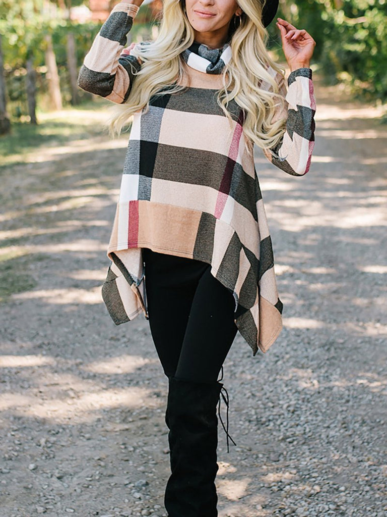 Fashion Irregular Check Long Sleeve T-Shirt Khaki s