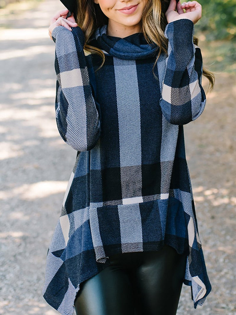 Fashion Irregular Check Long Sleeve T-Shirt Blue xl