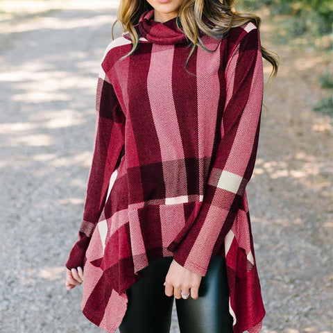 Image of Fashion Irregular Check Long Sleeve T-Shirt Claret l