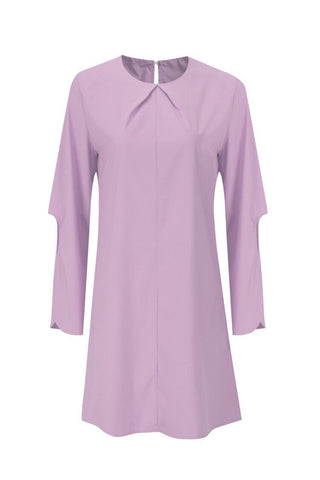 Image of Fashion Loose Round   Collar Button Cuff Split Shown Thin Mini Dress Pink s