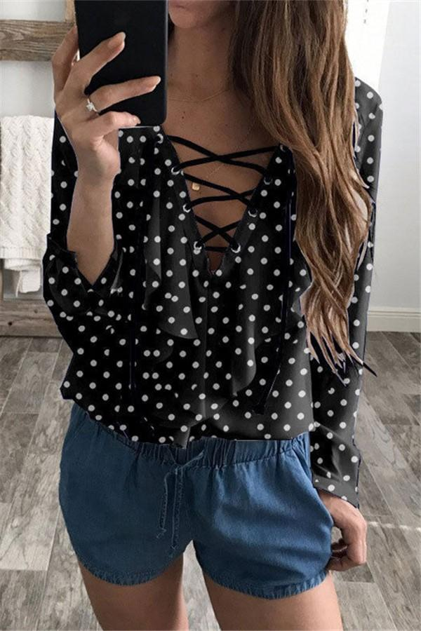 Fashion Loose V Collar   Wave Point T-Shirt Blouse Black s