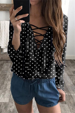 Image of Fashion Loose V Collar   Wave Point T-Shirt Blouse Black s