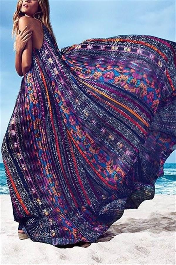 Bohemian Style Vacation Floral Pattern Maxi Dress Purple s
