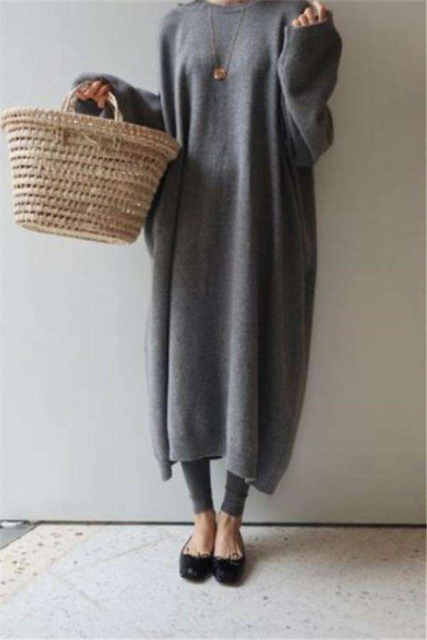 Fashion Casual Loose   Thicker Knitted Sweater Maxi Dress Gray one size