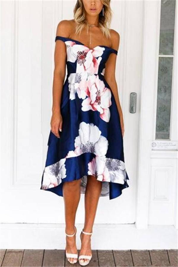 Fashion Sexy Off The   Shoulder Show Thin Floral Print Eveningmaxi Dress Blue m