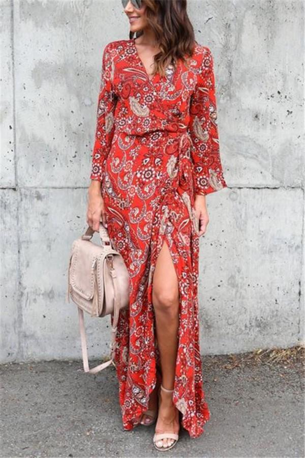 Fashion Sexy V Neck   Long Sleeved Floral Print Maxi Dress Same As Photo m