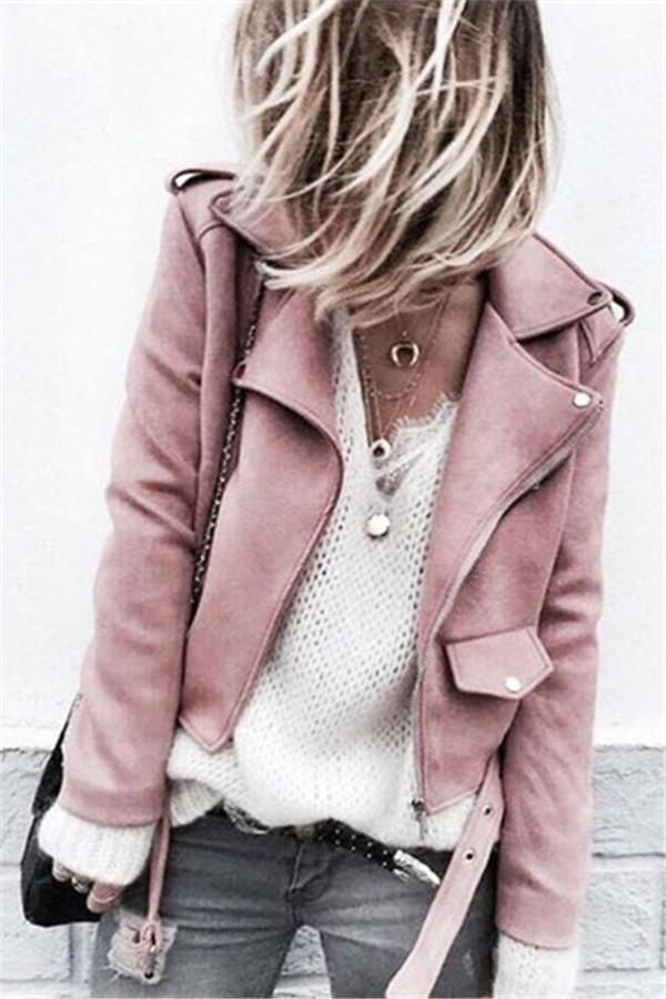 Fashion Long Sleeve   Suede Fabric  Button Jacket Coat Pink s