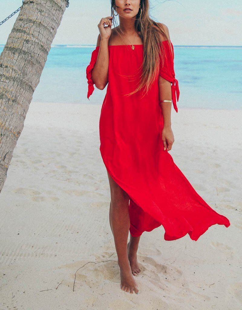 Fashion Sexy Off The Shoulder Pure Color Maxi Dress Red m