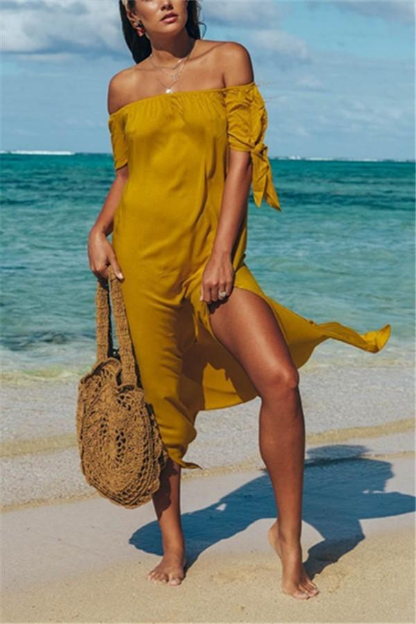 Fashion Sexy Off The Shoulder Pure Color Maxi Dress Yellow s