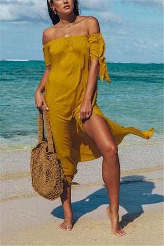 Image of Fashion Sexy Off The Shoulder Pure Color Maxi Dress Yellow s