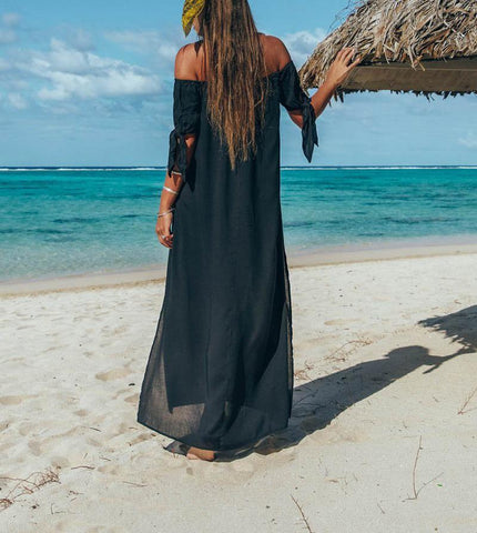 Image of Fashion Sexy Off The Shoulder Pure Color Maxi Dress Black m