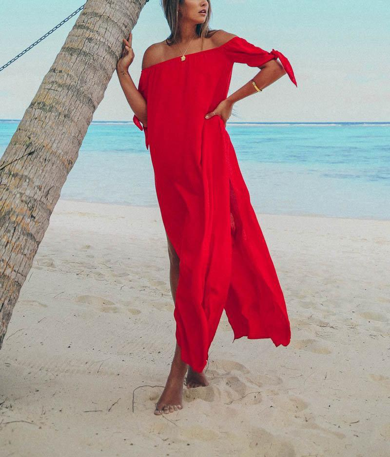 Fashion Sexy Off The Shoulder Pure Color Maxi Dress Red l
