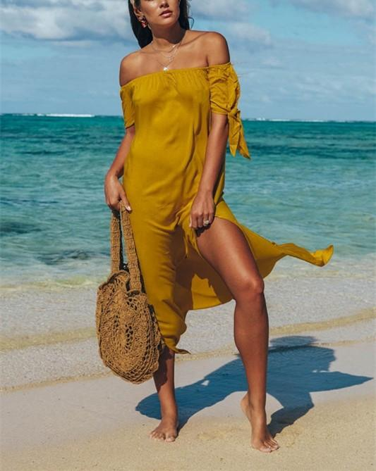 Fashion Sexy Off The Shoulder Pure Color Maxi Dress Yellow l