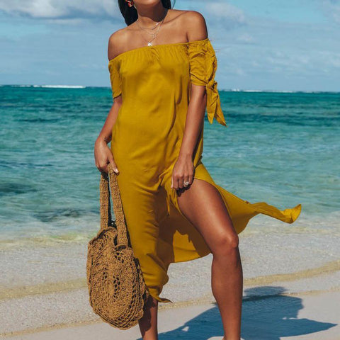 Image of Fashion Sexy Off The Shoulder Pure Color Maxi Dress Yellow m