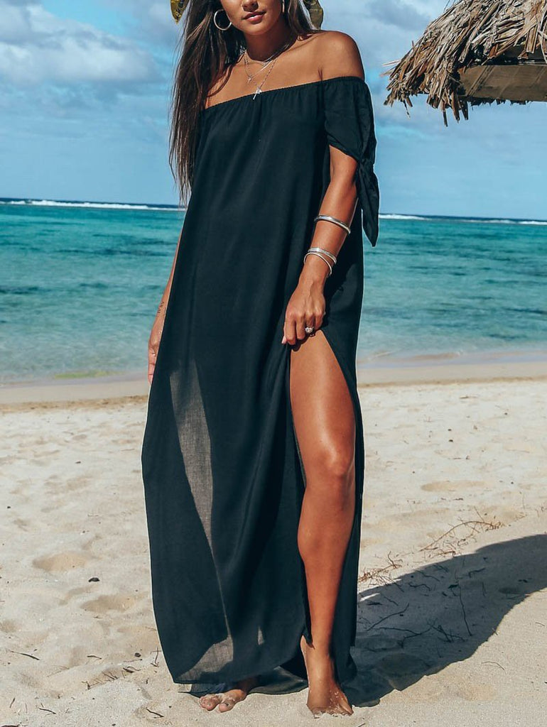 Fashion Sexy Off The Shoulder Pure Color Maxi Dress Black s