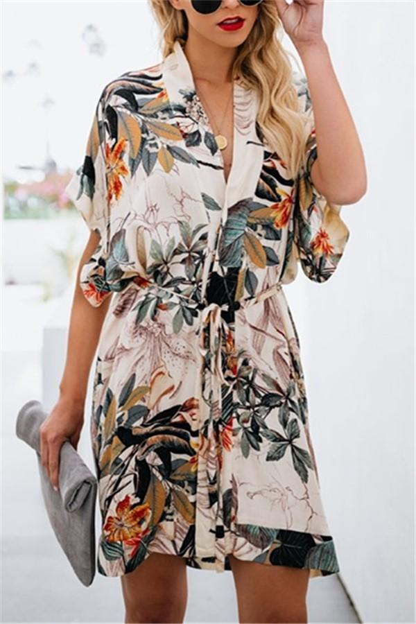 Fashion Sexy V Neck   Floral Print Mini Dress Same As Photo 2xl