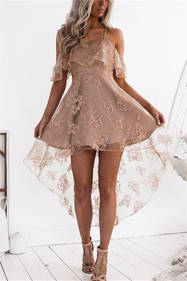 Fashion Sexy Lace Show   Thin Sling Mini Dress Apricot s