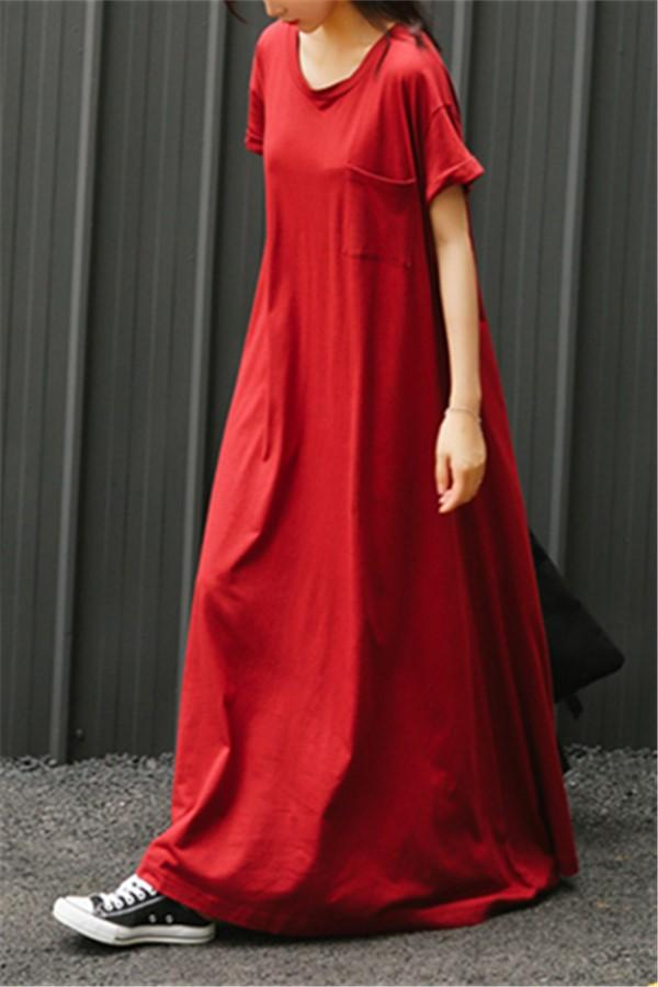 Fashion Round Collar   Short Sleeve Loose Maxi Dress Red m