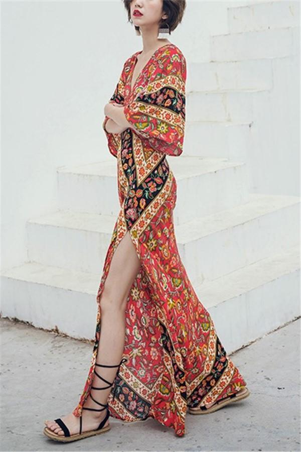 Fashion Vacation   Bohemia Style V Neck Floral Print Maxi Dress Same As Photo s