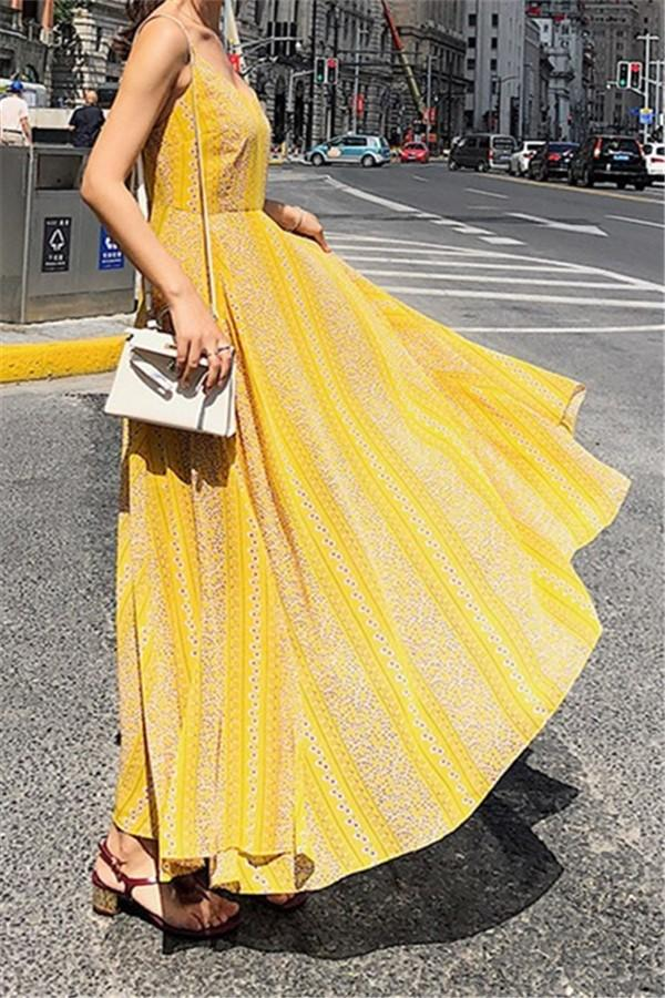 Fashion Vacation   Bohemia Style V Neck Floral Print Sexy Sling Maxi Dress Yellow s