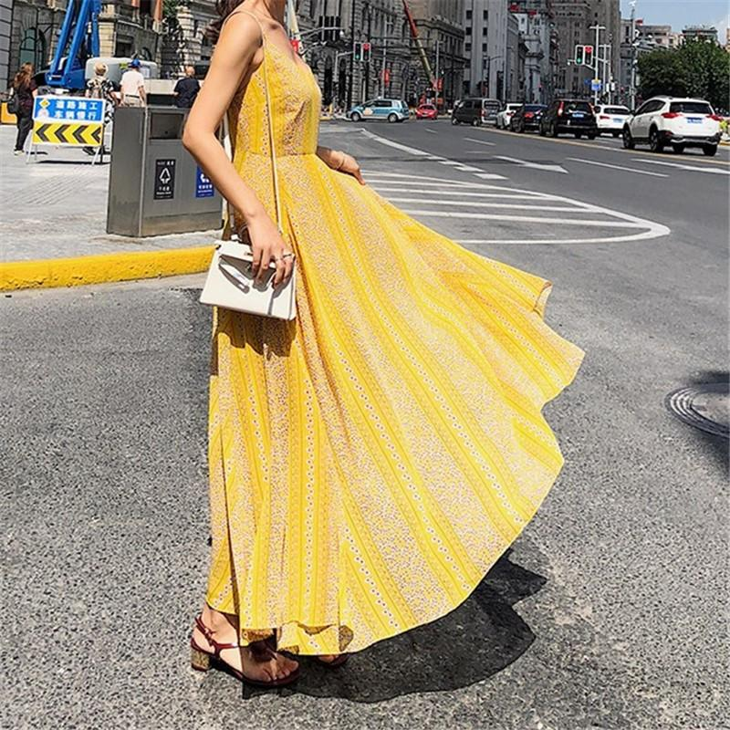 Fashion Vacation   Bohemia Style V Neck Floral Print Sexy Sling Maxi Dress Yellow m