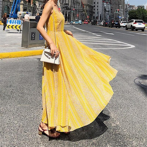 Image of Fashion Vacation   Bohemia Style V Neck Floral Print Sexy Sling Maxi Dress Yellow m