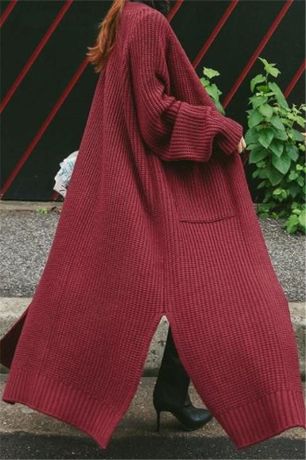 Fashion Loose Pure   Color Long Knit Sweater Cardigan Cost Claret one size