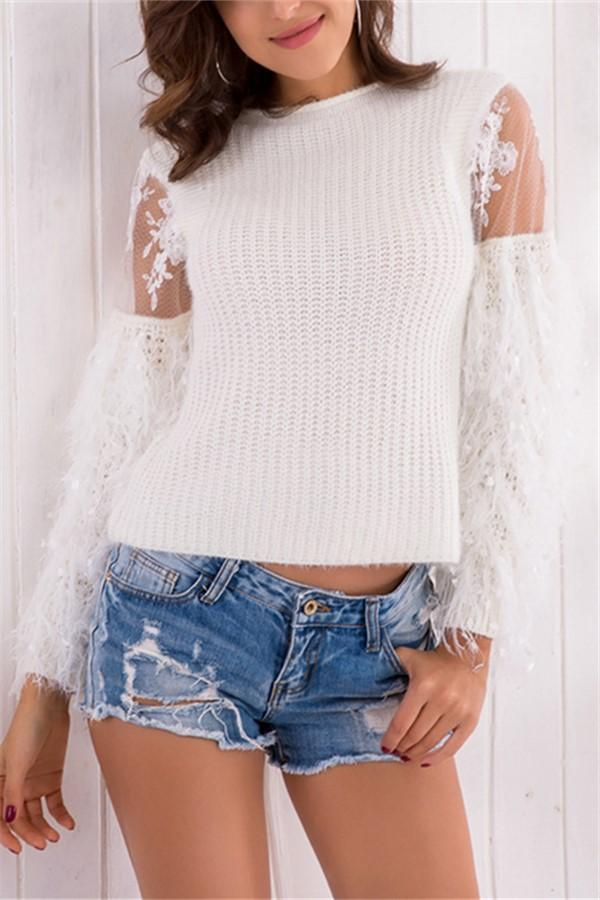 Fashion Sexy Lace   Splicing Long Sleeve Sweater Knit Blouse White one size