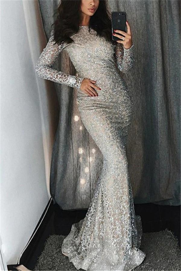 Fashion Sexy Sequins   Evenig Party Maxi Bodycon Dresses Silver s